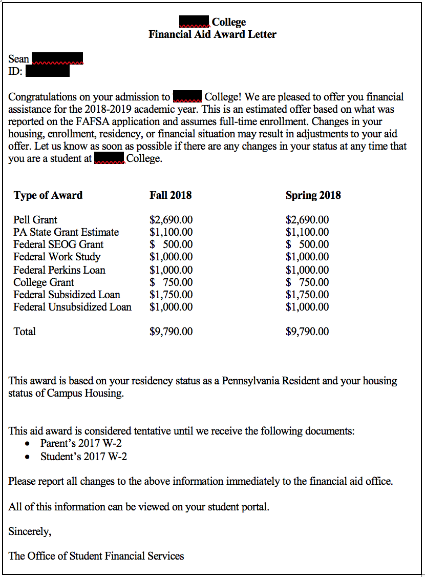 screen shot 2018 03 12 at 114825 ampng this first financial aid award letter is both incomplete and confusing