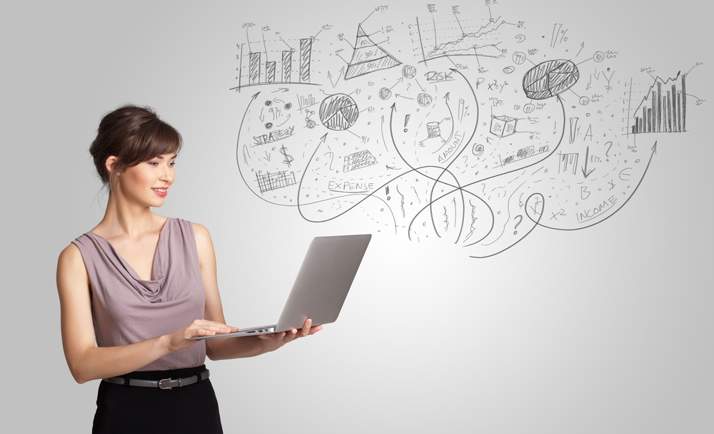 Business girl presenting hand drawn sketch graphs and charts concept
